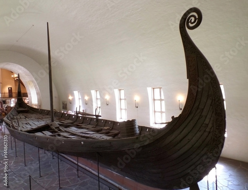 The Oseberg Ship, Well Preserved Historic ship Exhibited in The Viking Ship Muse Poster