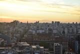 A big city at sunset
