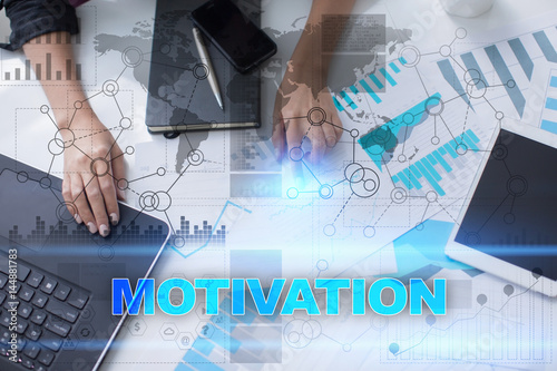 Woman working with documents, tablet pc and notebook and selecting motivation Poster