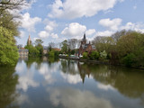 Calm scene with reflections in Bruges, Belgium