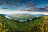 Panoramic view from the hill on  bend of the river. Dniester Canyon. Ukraine.