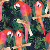 Watercolor seamless pattern with colorful parrots and tropical leaves. Exotic print