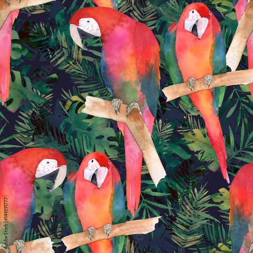 akwarela-bezszwowe-wzor-z-kolorowych-papug-i-tropikalnych-lisci-egzotyczny-druk