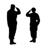 Commander and soldier salute each other - 144895997