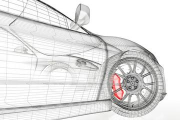 3D car mesh on a white