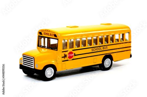 Zdjęcia Yellow school bus kids toy on white background