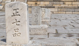Place markers at Changdeokgun Palace in Seoul, South Korea