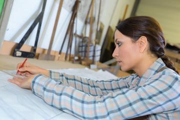 Female artist sketching
