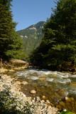 Mountain river Gega, flows among the gorge, washing huge boulders, Abkhazia, the Caucasus