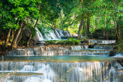 Beautiful and Breathtaking green waterfall, Erawan's waterfall, Located Kanchanaburi Province, Thailand - 144932117
