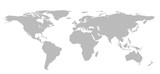 Blank Grey World map isolated on white background. infographics, illustration