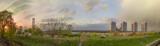 panorama, Kyiv, cloudy sky, Southbridge
