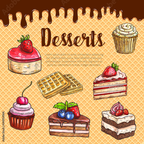 Vector waffle poster with dessert cake pies