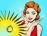Vector pop sztuki ilustracji kobiety patrz? C na pier? Cionek zaręczynowy