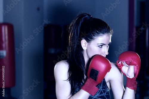 Poster Beautiful woman boxer