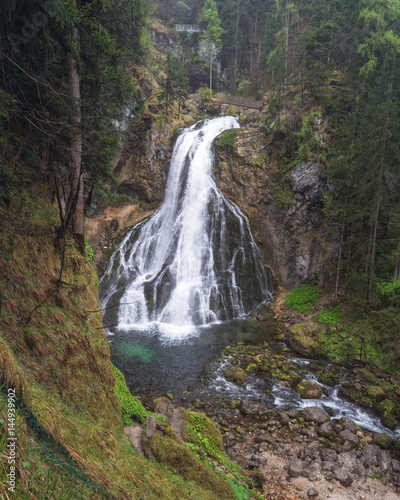 75m Tall Golling Waterfall (Golling Falls) located near the City of Salzburg near the Village of Golling an der Salzach, Austria - 144939902