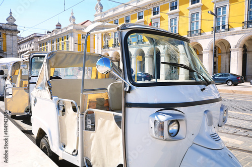 Foto op Canvas Scooter Tuk tuk on street of Lisbon in Portugal