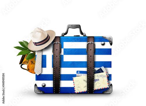 Papiers peints Athenes Greece, vintage suitcase with Greece flag