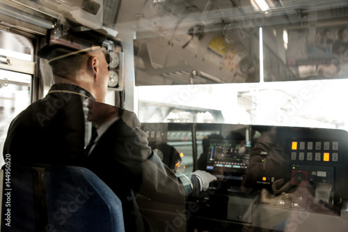 Fotobehang Kyoto Train driver in Tokyo Japan | Public transportation monorail on March 30, 2017