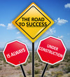 The road to success is always under construction concept on road signs