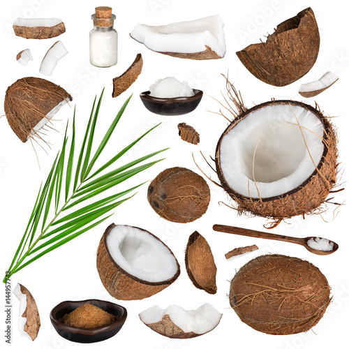 Plagát, Obraz close-up of a coconut collection on white background