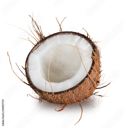 close-up of a coconut on white background