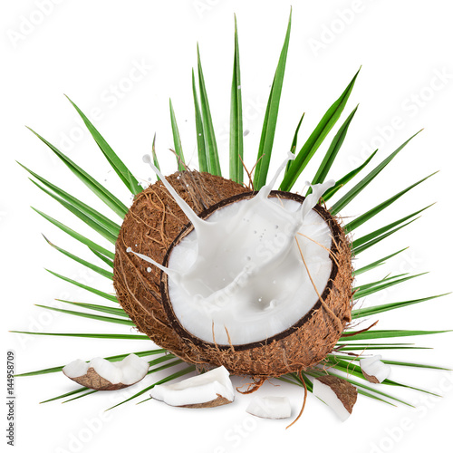 close-up of a coconuts with milk splash on white background Poster