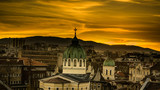 Beautiful sunset over Temple St. St. Cyril and Methodius against the backdrop of Vitosha Mountain in Sofia. Bulgaria - 144961117