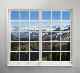 Residential window with Alpine view
