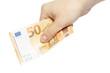 Hand mit neuem 50 EURO Geldschein in der Hand
