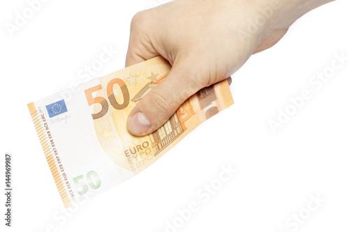 Poster Hand mit neuem 50 EURO Geldschein in der Hand