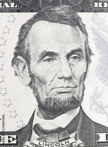 Plakát Lincoln Abraham  portrait on dollar bill