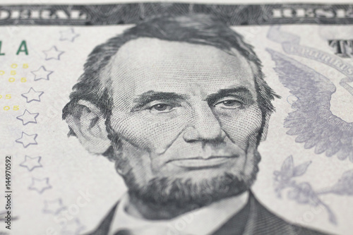 Lincoln Abraham  portrait on dollar bill плакат