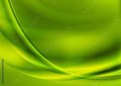 Bright abstract green smooth waves background