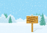 Wood Sign for Your Text in Winter Forest on Snowing Christmas Landscape, Background for Your Design. Eps10, Contains Transparencies. Vector