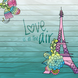 Flower love card design with eiffel tower vector. Hand drawn succulent, cactus leaves, green wooden background
