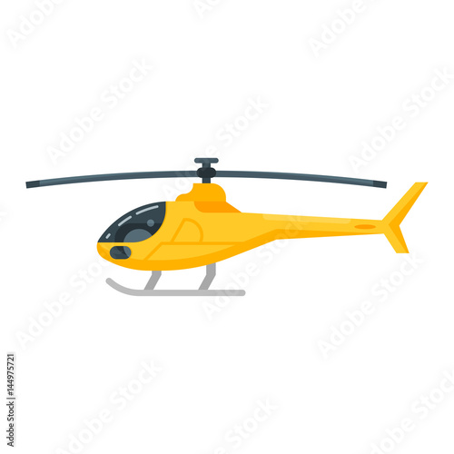 Fototapeta Vector flat style illustration of yellow helicopter.
