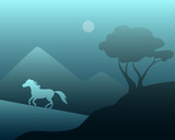 Night moon landscape with a wild horse and a tree. Vector illustration