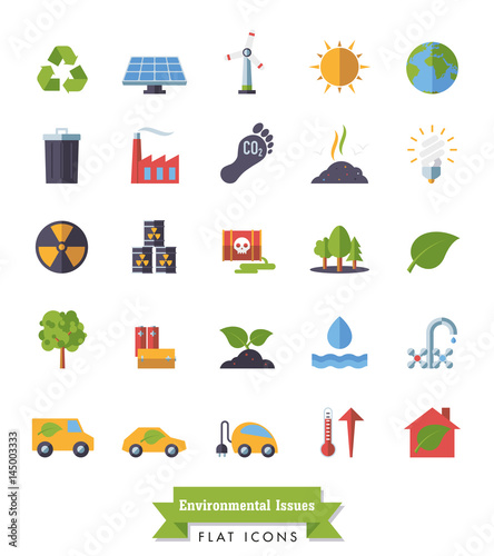 Environment and Climate related flat design isolated icons set
