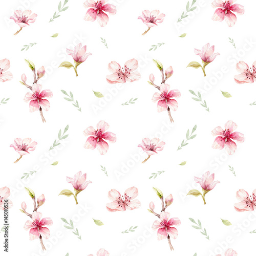 Watercolor seamless wallpaper with blossom cherry flowers, branch and leaves, bohemian watercolour decoration pattern. Design for invitation, wedding or greeting cards - 145010536