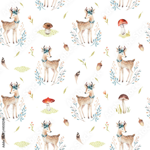 Cute baby deer animal seamless pattern for kindergarten, nursery isolated illustration for children clothing. Watercolor Hand drawn boho image Perfect for phone cases design, nursery posters. - 145012146