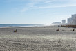 Beach in Atlantic City, New Jersey with boardwalk in background