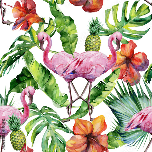 Tapeta ścienna na wymiar Watercolor illustration of tropical pink flamingo bird. Trendy artwork with tropic summertime motif. Exotic Hawaii art. Seamless mirror pattern.