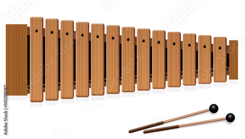 Fototapeta Xylophone - musical instrument with thirteen wooden bars and two percussion mallets - top view - isolated vector illustration on white background.