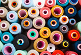 Many Colorful sewing threads in box