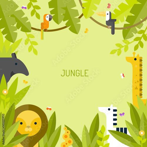 Piękny tropikalny tło. Dżungla. Płaskie ilustracji wektorowych.