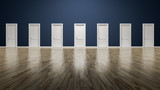 a room with seven doors to choose - 145026560