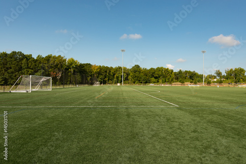 Foto op Plexiglas Gras Soccer field background with a shallow depth of field on a beautiful summer day