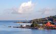 Saint Lucia tropical island - Caribbean sea - Castries harbor, airplane and airport