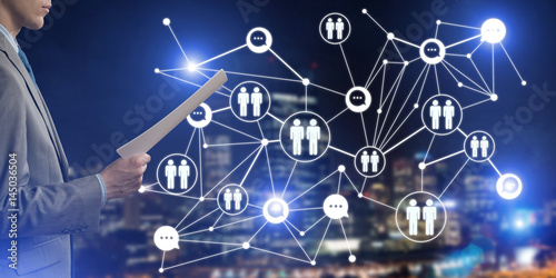 Concept of modern business networking that connect and cooperate people